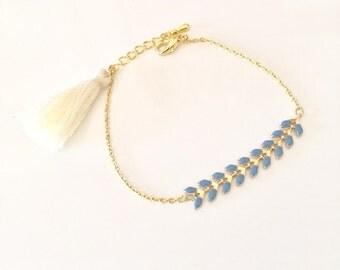 Dainty fishbone chain bracelet, little tassel, boho bracelet