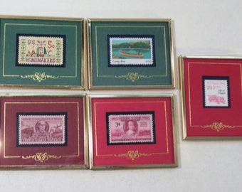 Lot of 5 Stamps & Stories Framed Stamps 1992, Homemakers, Railroad Engineers, Volunteer Firemen, Camp Fire Boys Girls, Texas Stamps