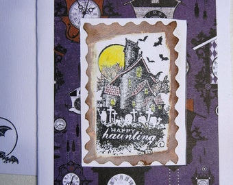 Haunted House Handmade Halloween Card with Stamped Image and Envelope for Mailing or Presentation