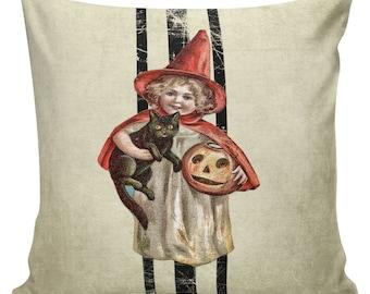 Pillow Cushion Halloween Witch Pumpkin Jack O Lantern Black Cat Laundry Ticking Cotton #HA0095 Elliott Heath Designs