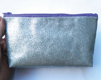 Silver Glitter Pencil Case or Clutch Bag