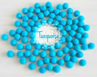 Wool Felt Balls - Size, Approx. 2CM - (18 - 20mm) - 25 Felt Balls Pack - Color Turquoise-2040 - Tuequoise Pom Poms - Turquise Felt Balls