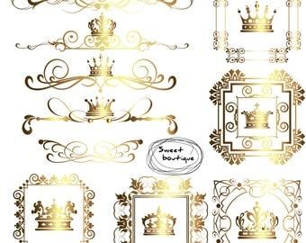 crown border digital borders frames clipart crown frame clipart wedding digital digital crown text dividers monogram frame 0619