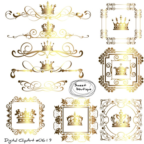 crown border digital borders frames clipart crown frame clipart wedding digital