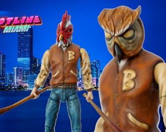 Hotline Miami - Jacket Marvel Legends style custom action figure with 3 masks and unmasked head sculpt Richard Rasmus Battle Damaged Weapons
