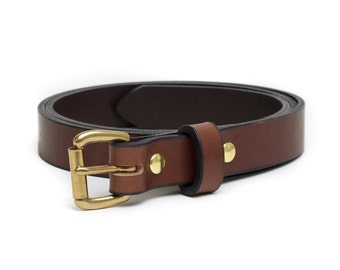 Leather Slim Belt | Brown