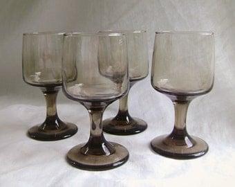 Vintage Tawny Wine Glasses, Smoky Glasses, Set of 4, Libbey Glassware, 1970s, Mid Century, Brown Glasses, Smokey