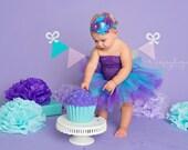 Peacock Birthday Tutu Outfit - Cake Smash Outfit Girl - Tutu Set - Girl First Birthday Outfit - Turquoise & Purple - Newborn Tutu Baby Tutu
