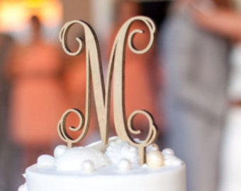 "Wedding Cake Topper, Cake Topper, Initial Wedding Cake Topper, Script Initial Cake Topper, Script 5"" Topper - UNFINISHED"