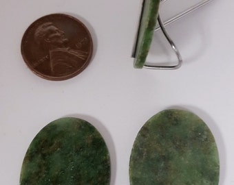 1 Vintage Genuine Wyoming Jade 30x22mm. Oval Smooth Dome Cabochons  D493