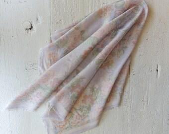 Vintage Pastel Scarf/Cotton Scarf/Lavendar Scarf/Boho Chic Scarf/Shabby Chic/Floral Scarf /Soft Purple/Pale Purple/Fringe Scarf/Summer Scarf