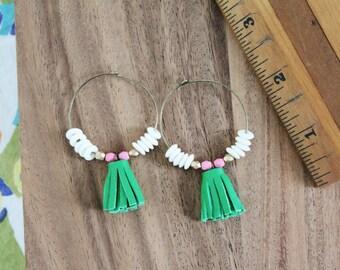 tiny tassel green genuine leather and czech glass hoop earrings - 1.5 inchhoop