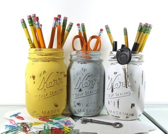 Pen Cup, Rustic Office Decor, Dorm Decor, Cute Office Decor, Pencil Holder, Mason Jar Decor, Distressed Decor, Back to School