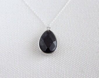 Black Teardrop Pendant, Faceted Stone Necklace Sterling Silver,  Minimal Modern Pendant