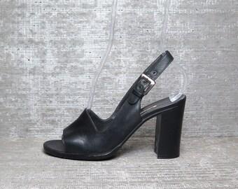Vtg 90s Walter Steiger Black Leather Open Toe Slingback Heeled Sandals 7