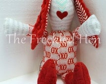 bunny rabbit easter valentines stuffed girl doll plush toy red minky ears love heart aqua some bunny loves you hand made free shipping