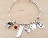Teacher Bracelet - Teacher Gift - Number One Teacher Personalized Bracelet - Adjustable Bangle - Birthstone Bracelet - Personalized Jewelry