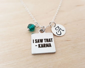 Karma Necklace - Personalized Necklace - Birthstone Necklace - Personalized Gift - Initial Necklace - Sterling Silver Necklace