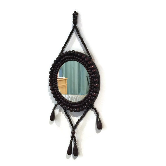 Wood beaded mirror small round mirror ethnic mirror by for Small hanging mirror