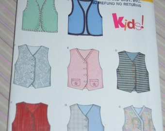 New Look 6336 Childrens  Vest Sewing Pattern - UNCUT - SIzes 3 - 8