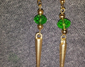 Green and Gold Spikes Loki earrings