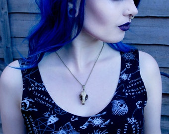 Resin cast bat skull necklace