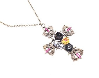 Bronze steampunk pendant goth skull religious religion gothic cross crucification roses jewels