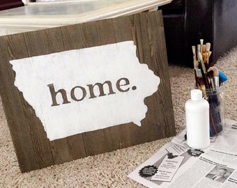 """HOME: Hand-Painted Wooden Sign 16x20"""""""