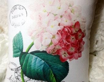 Pink Hydrangea Pillow, Pink Flowers, Hydrangea Decor, Shabby Pink Flower Pillow, Hydrangea Pillow  #C2