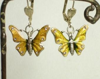 Butterfly French Swarovski Enameled Vintage Earrings