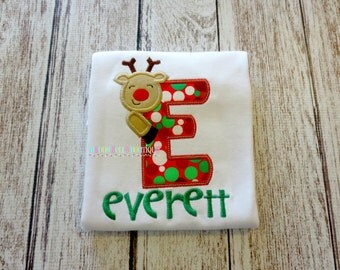 Fun Reindeer Alpha Appliqued Shirt - Embroidered, Personalized, Monogram, Reindeer, Boys, Girls, Christmas, Holiday, Reindeer Alpha Shirt
