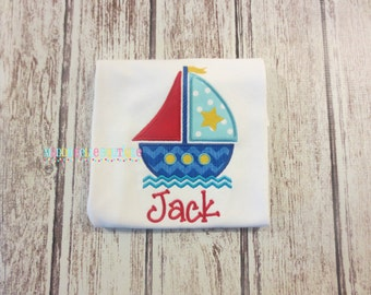 Fun Sailboat Appliqued Shirt - Embroidered, Personalized, Monogram, Boat, Sailboat, Boys, Girls, Summer, Star, Sailboat Shirt