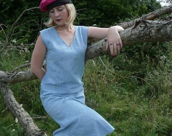 1920s Style Drop Waist Dress // Sleeveless Flapper Dress // Linen Shirting Fabric // Blue Pinstripe