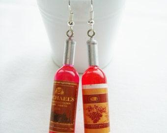 Red wine plastic bottle earrings - wine bottle charm earrings - wine jewelry - mini red wine bottle jewelry - festive wine gift