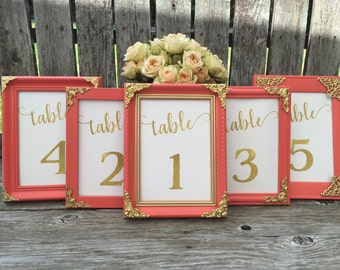Coral and Gold Framed Table Numbers,5x7, 4x6,Table Number Frames,Wedding Frames, Table numbers,Coral and Gold Decor,#goldfont Los angeles