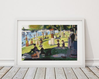 Mini Cross Stitch PATTERN A Sunday Afternoon on the Island of La Grande Jatte by Georges Seurat, Cross Stitch Chart PDF