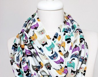 Cats Infinity Scarf Print Scarf Circle Scarf Spring Summer Fall Winter Session gift for her girlfriend wife mothers day