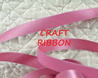 16 YARDS, 1960s Vintage, Rose Pink, Velvet Satin Craft Ribbon, Velita, Acetate Rayon, 7/16 Inch Wide, C8