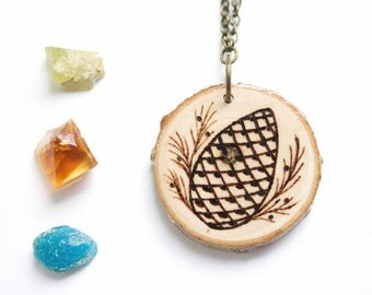 Wood Slice Necklace, Pinecone Necklace, Wood Pendant, Woodburned Necklace, Natural Wood Necklace, Wood Necklace, Pinecone Jewelry