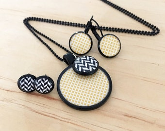 Mustard and  Black Necklace and or Earrings