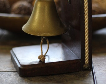 Vintage Brass Bell Mounted on Wood Japan