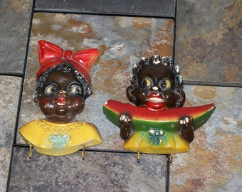 Black Americana Chalkware Pot Holders Kitchen Hooks 1949