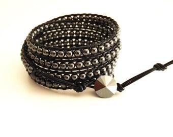 5 Leather wrap bracelet ,boho bracelet ,semiprecious stone bracelet, hippie wrap, hematite bracelet, black leather bracelet