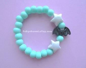 Mint Bats and Stars Bracelet -Creepy Cute- Lolita- Kawaii- Gothic- Pastel Goth- Gothic Lolita- Sweet Lolita-JFashion- Harajuku- Fairy Kei