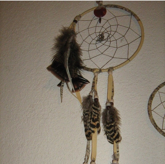 Dream Catcher with Fancy Pheasant Feathers, Large in Earthtone Colors,Native woven custom made with gems,charms,feathers, by dream