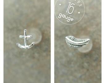 Tragus earrings, Feather & Anchor tragus earring, tragus 16G, tragus BioFlex, tragus piercing, labret piercing,tragus earring flat back,