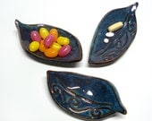 Three teeny leaf dishes, Blue-green pottery, Ring holders, Wedding favors