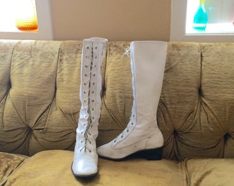 60s Tie Up White Go Go Boots