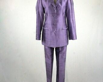 Vintage Raw Silk Lavender Purple Suit Paint Suit Hand Tailored