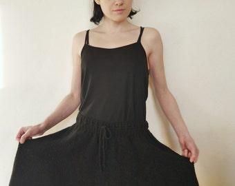 Hand Knit Skirt Black Skirt Panel / Paneled Skirt Full Midi Skirt Circle Skirt Geometric Modern Minimalist Skirt Fairy Skirt Womens Clothing
